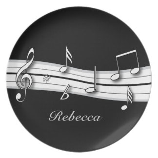 Grey black and white musical notes score plate