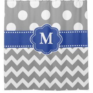 Grey Blue Dot Chevron Monogram Shower Curtain