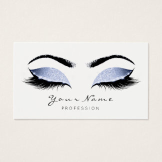 Grey Blue Makeup Artist Lashes Beauty Studio Business Card