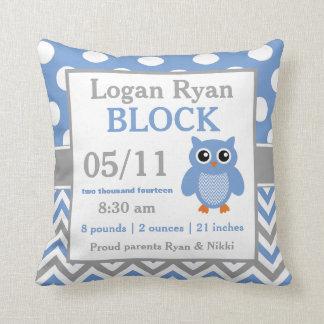 Grey Blue Owl Baby Announcement Pillow
