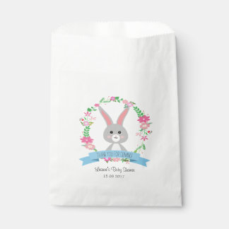 Grey Bunny and Floral Wreath Favour Bags