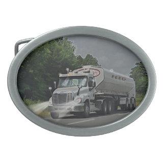 Grey Cattle Feed Cistern Truck for Truck-lovers Oval Belt Buckle