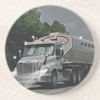 Grey Cattle Feed Cistern Truck for Truckers & Kids Drink Coaster