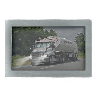 Grey Cattle Feed Cistern Truck for Truckers & Kids Rectangular Belt Buckle