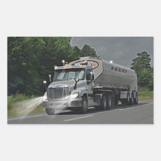 Grey Cattle Feed Cistern Truck for Truckers & Kids Rectangular Sticker