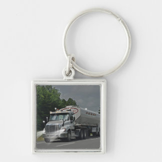 Grey Cattle Feed Cistern Truck for Truckers & Kids Silver-Colored Square Key Ring