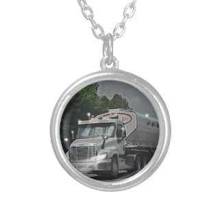 Grey Cattle Feed Cistern Truck for Truckers & Kids Silver Plated Necklace