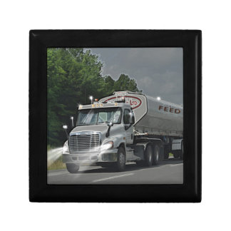 Grey Cattle Feed Cistern Truck for Truckers & Kids Small Square Gift Box