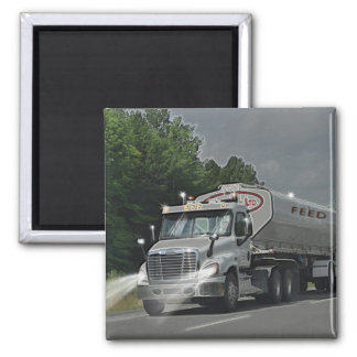Grey Cattle Feed Cistern Truck for Truckers & Kids Square Magnet