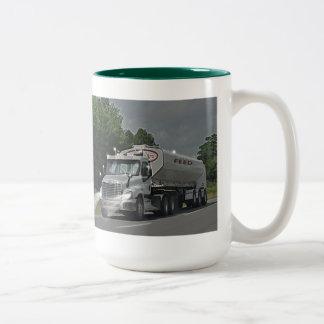 Grey Cattle Feed Cistern Truck for Truckers & Kids Two-Tone Coffee Mug