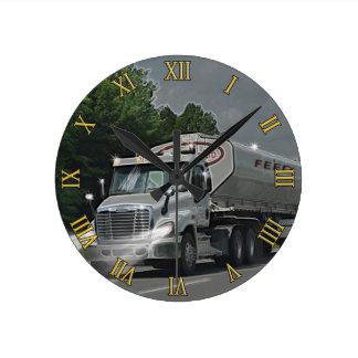 Grey Cattle Feed Cistern Truck for Truckers & Kids Wall Clock