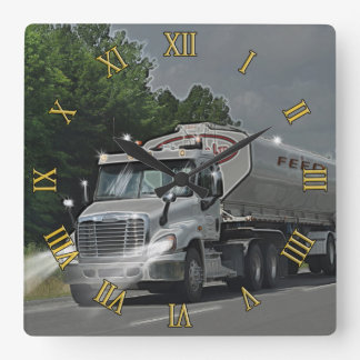 Grey Cattle Feed Cistern Truck for Truckers & Kids Wall Clocks