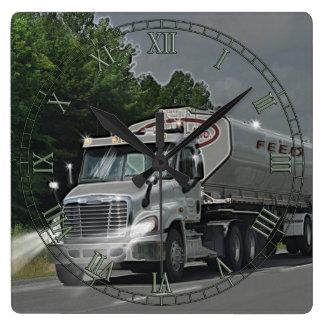 Grey Cattle Feed Cistern Truck for Truckers & Kids Wallclocks