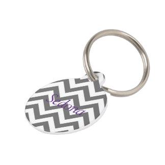 Grey Cheveron Pet Tag (Grey & Purple)