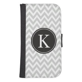 Grey Chevron Stripe Pattern Custom Monogram Samsung S4 Wallet Case