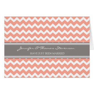 Grey Coral Chevron Just Married Announcement Card