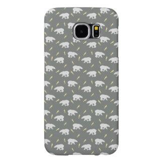 Grey cute Polar Bears Samsung Galaxy S6 Cases