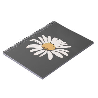 Grey Daisy Floral Photo Notebook