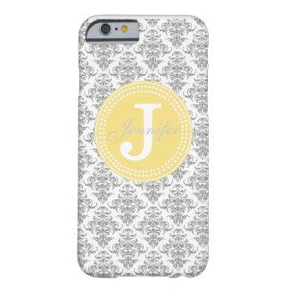 Grey Damask & Yellow Monogram iPhone 6 case