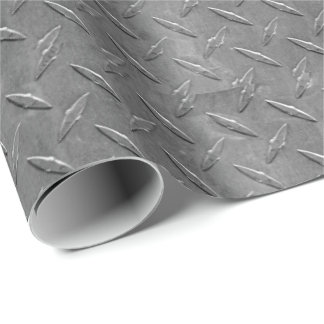 grey diamond plate wrapping paper