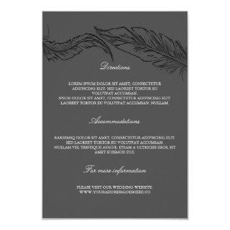 Grey Elegant Feathers Wedding Details Card