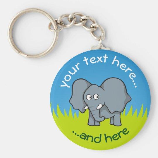 Grey elephant cartoon basic round button key ring