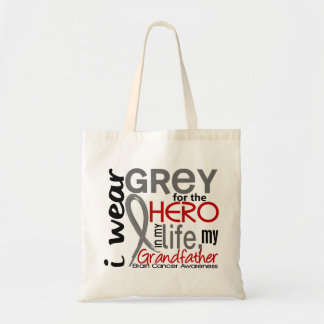 Grey For My Hero 2 Grandfather Brain Cancer Canvas Bags
