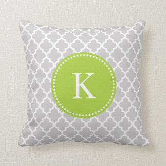 Grey Green Moroccan Pattern & Monogram Throw Pillow