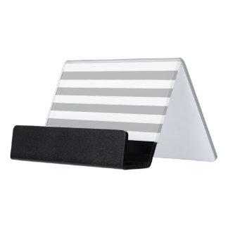 Grey Horizontal Stripes Desk Business Card Holder
