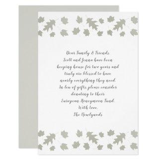 Grey Leaves Wishing Well Wording Enclosure Cards