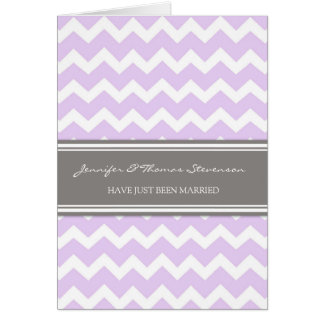 Grey Lilac Chevron Just Married Announcement Card