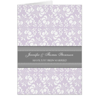 Grey Lilac Damask Just Married Announcement Card