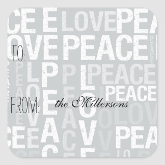 Grey Love Peace Gift Tag Stickers