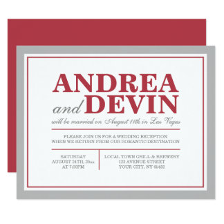 Grey & Merlot Wedding Reception ONLY Invitations
