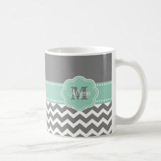 Grey Mint Green Chevron Personalised Mug
