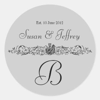 Grey Monogram Logo Names Date Wedding Label Classic Round Sticker