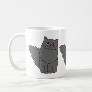 Grey Persian Cat w/ Orange Eyes Basic White Mug