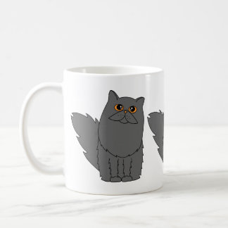 Grey Persian Cat w/ Orange Eyes Coffee Mug
