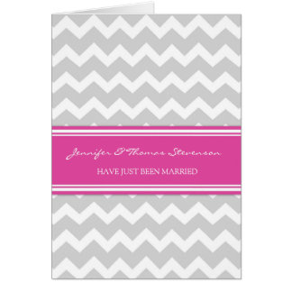 Grey Pink Chevron Just Married Announcement Card