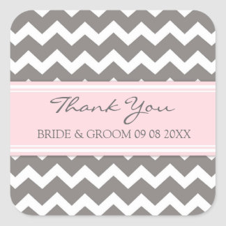 Grey Pink Chevron Thank You Wedding Favor Tags Square Sticker