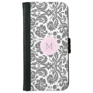 Grey Pink Damask Pattern Monogram iPhone 6 Wallet Case