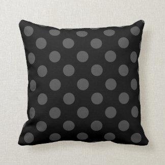 Grey polka dots on black throw pillow