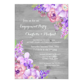 Grey Purple Lavender Engagement Party Invitations
