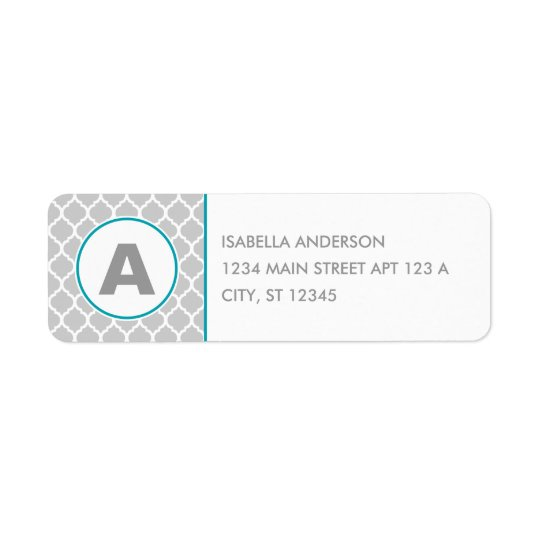 Grey Quatrefoil Monogram Return Address Label
