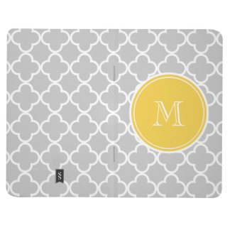 Grey Quatrefoil Pattern, Yellow Monogram Journal