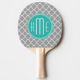 Grey Quatrefoil with Custom Mint Monogram Ping Pong Paddle
