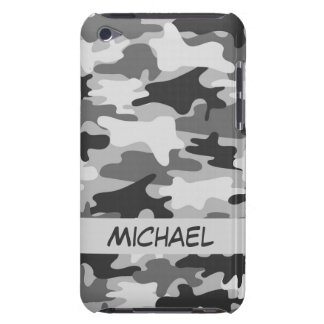 Grey Silver Camo Camouflage Personalized Name iPod Touch Case-Mate Case
