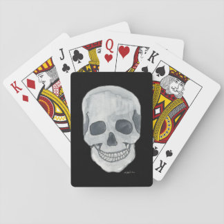 Grey Skull on Black Playing Cards