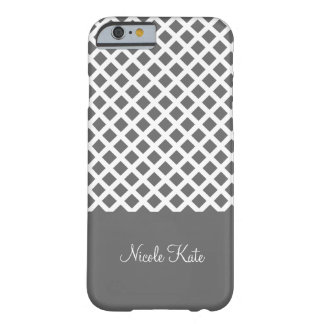Grey square grid Monogram Barely There iPhone 6 Case