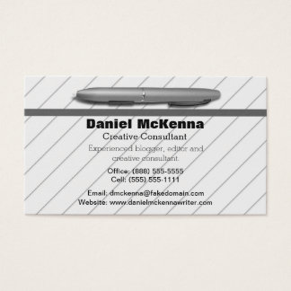 Grey Stripes and Silver Pen Writer or Editors Business Card